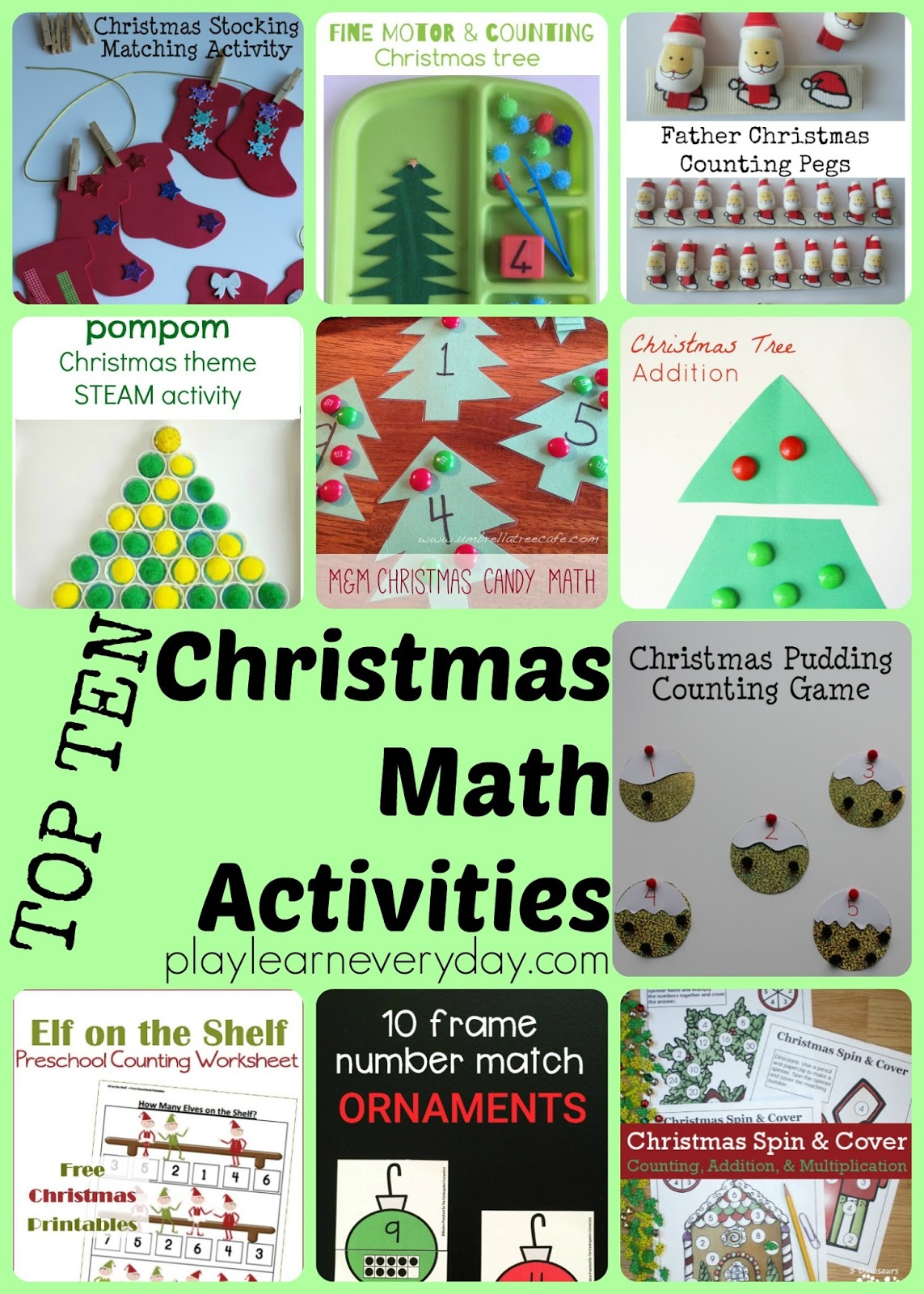 Top Ten Christmas Math Activities Play And Learn Every Day