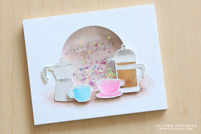 Thanks A Latte Shaker Card by Juliana Michaels featuring Jane's Doodles Coffee Time Stamp Set
