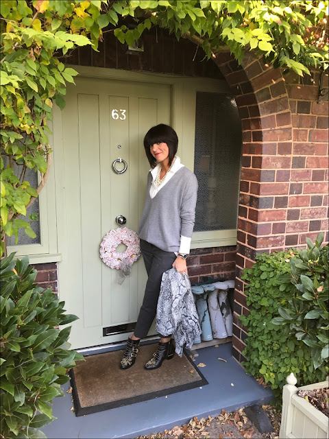 My Midlife Fashion, Hope Fashion Deep V Slouchy jumper, hush cashmere snake shawl, chloe susanna boots, the white company ultimate oxford flannel trousers, baukjen coco shirt, j crew cluster pearls
