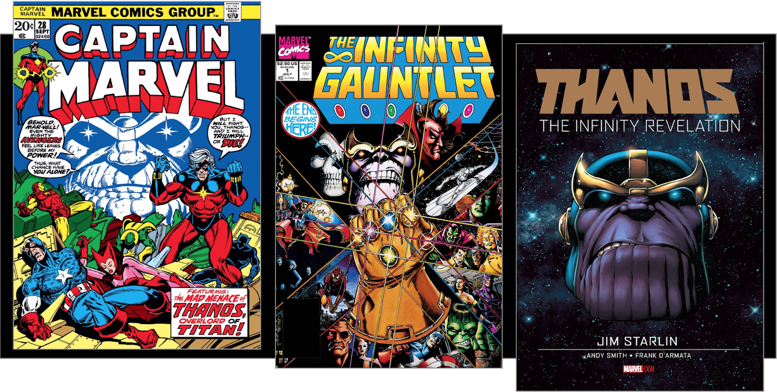Covers of 3 comic books from different eras with giant floating Thanos head common to all