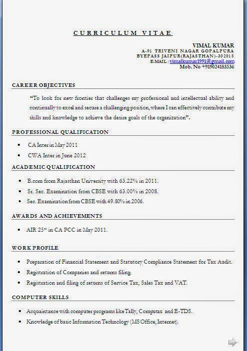Sample Resume For Ca Articleship Training - twnctry