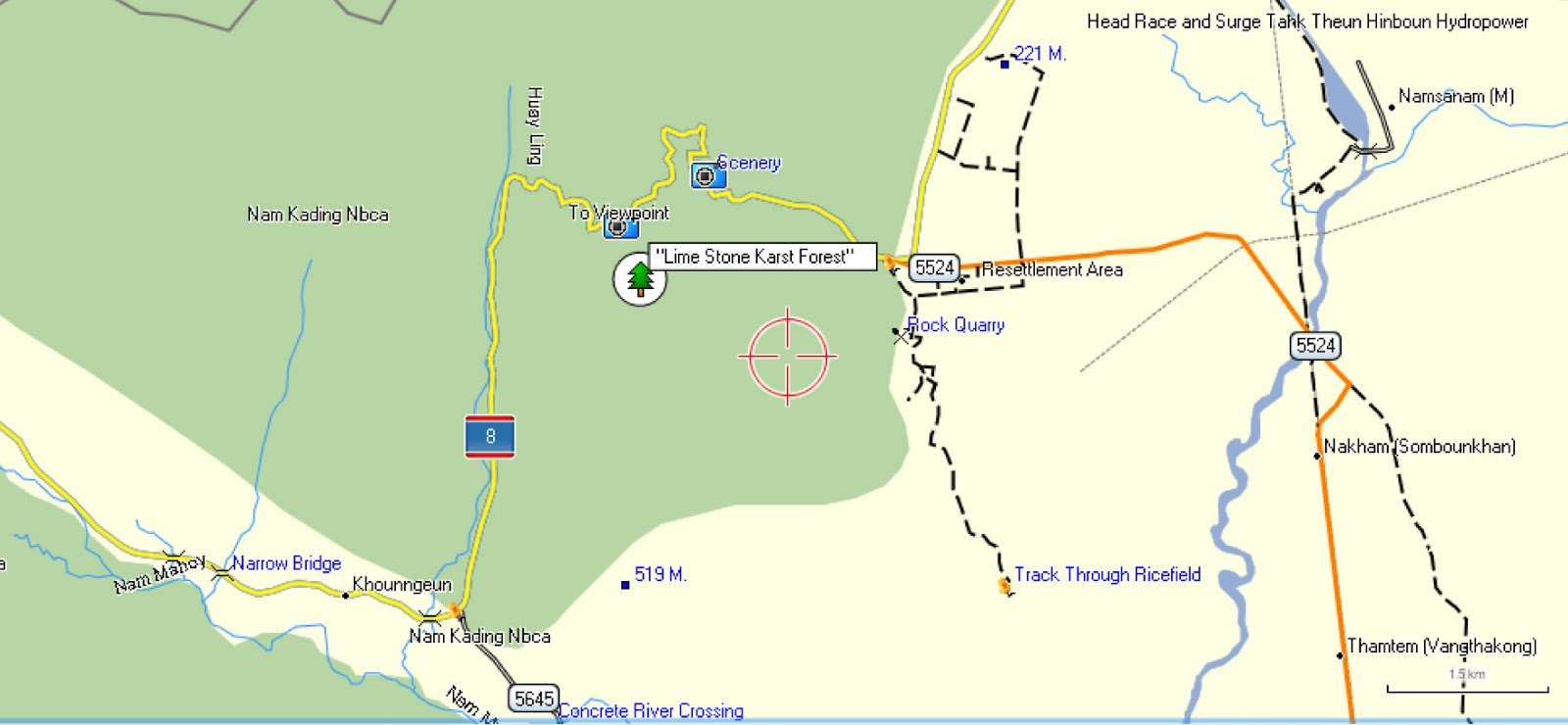 map of the area showing the forest