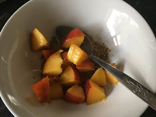 Vegan breakfast with flaxseed, tumeric and fruit