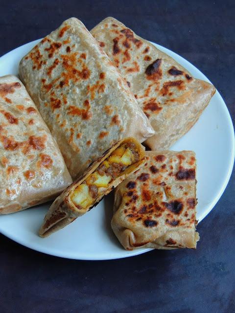 Potato & Meat Paratha, Folded Potato & Meat Roti