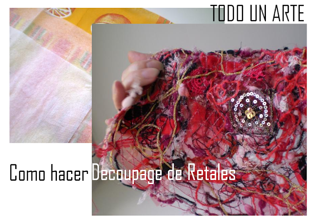 decoupage retales, reciclar, restos de lanas, método, técnica, manualidades