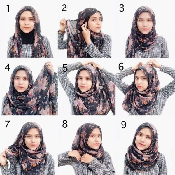 tutorial memakai jilbab pashmina style 1