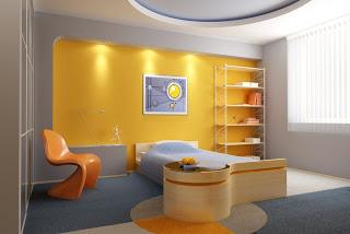 cuarto decorado en gris y amarillo