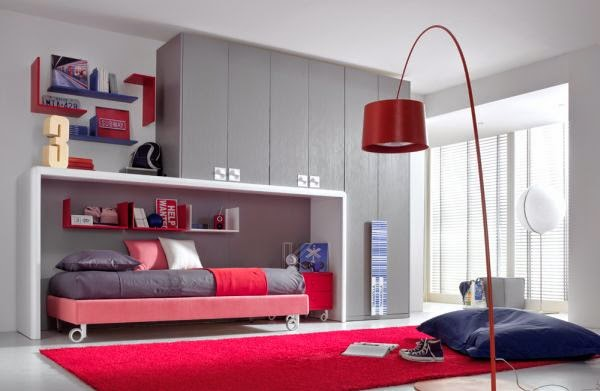 cuarto juvenil rojo gris