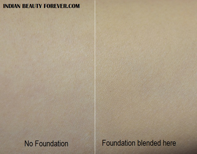 L'Oreal Paris Nµde Magic Foundation in Sun Beige swatches blended