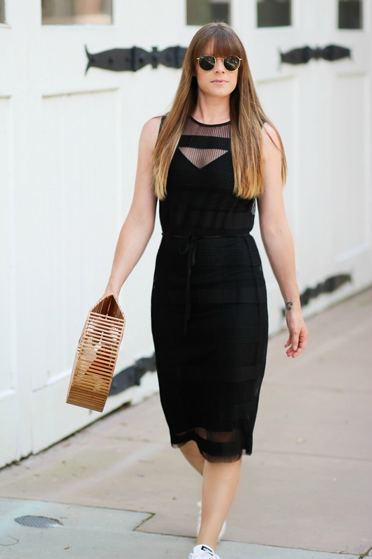 Little black dress and sneakers