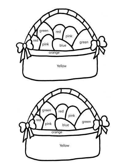 Read color words with this free Easter Basket printable