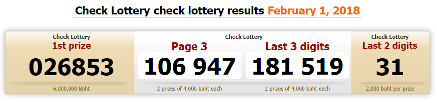 Thai Lottery Today Draw Result Online 01 Feb 2018(2561