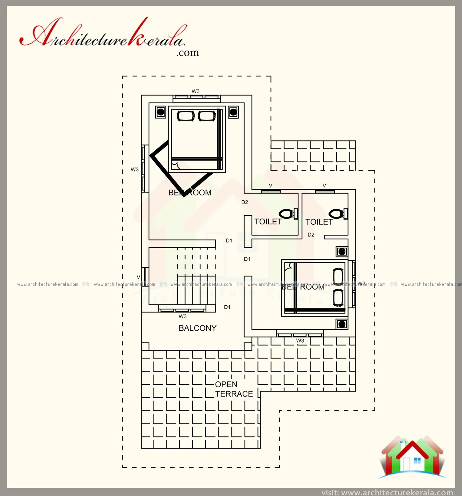 1100 square feet house plan and elevation with three for 1100 square feet