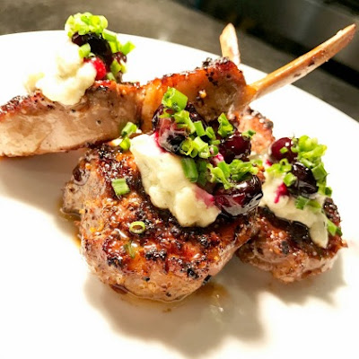Grilled New Zealand Lamb Chops + Melted Gorgonzola + Fried Blueberries Recipe