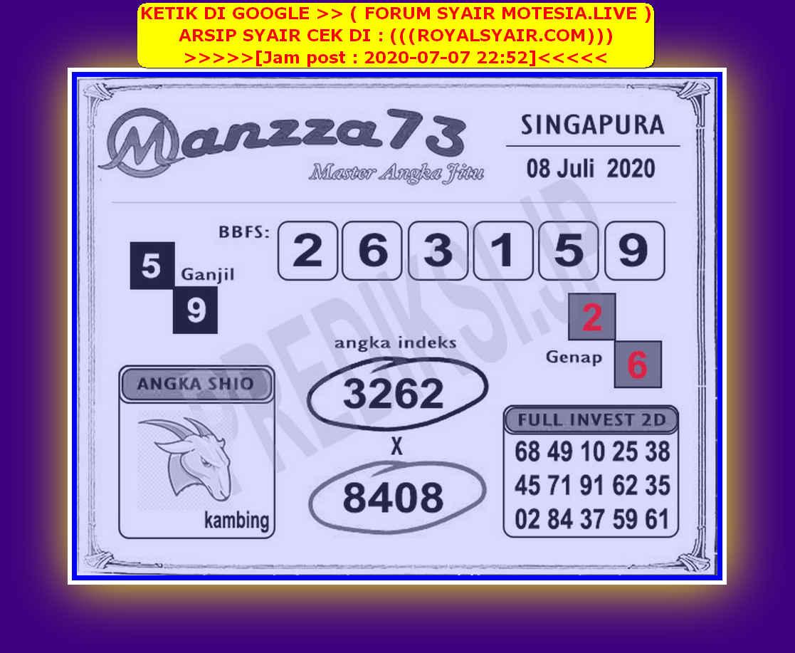 Kode syair Singapore Rabu 8 Juli 2020 238