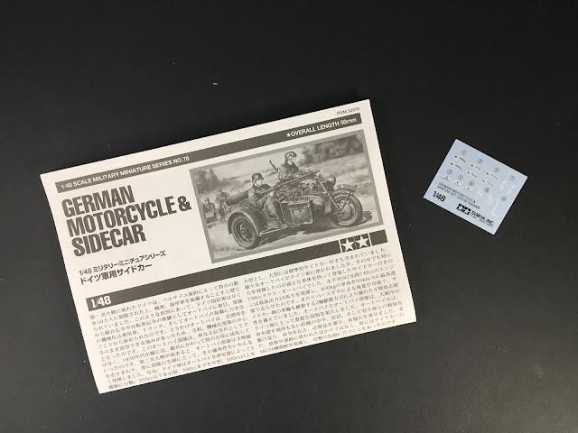 notice de la maquette  German motorcycle & side-car de Tamiya au 1/48.
