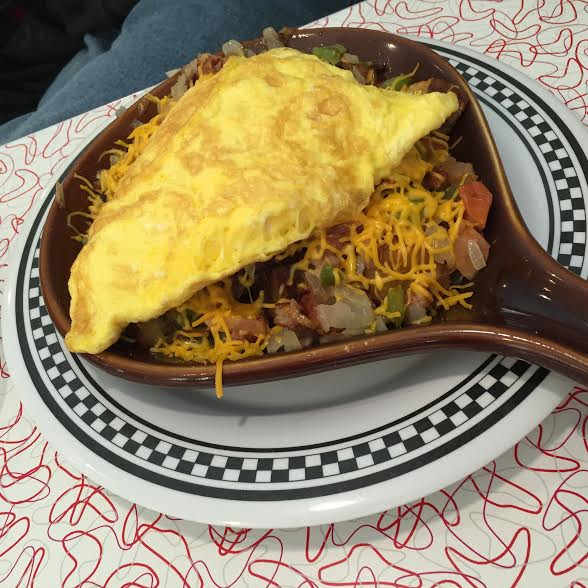 Skillet with eggs, potatoes and cheese at Bristol 45 Diner in Wisconsin.