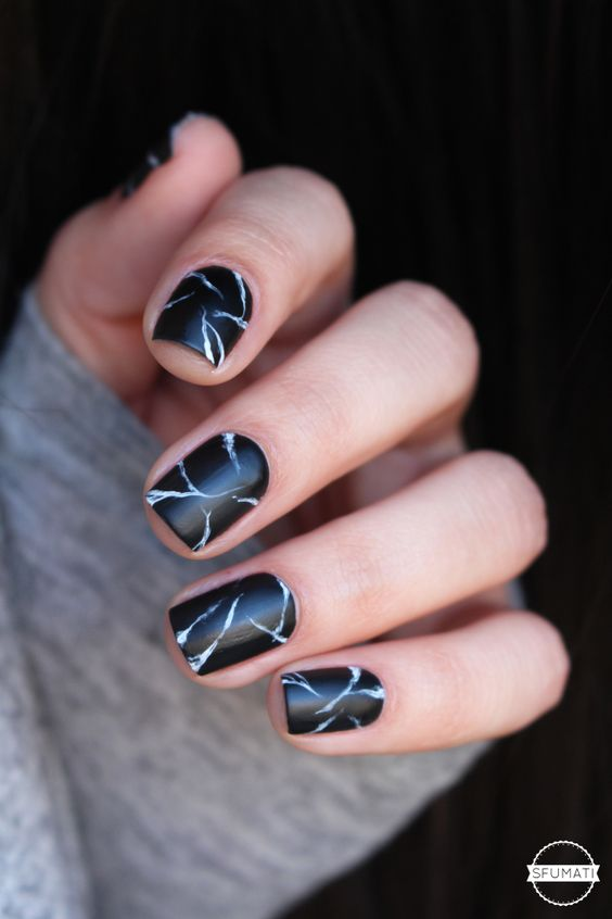 Diy Easy To Do Black Marble Stone Nail Art