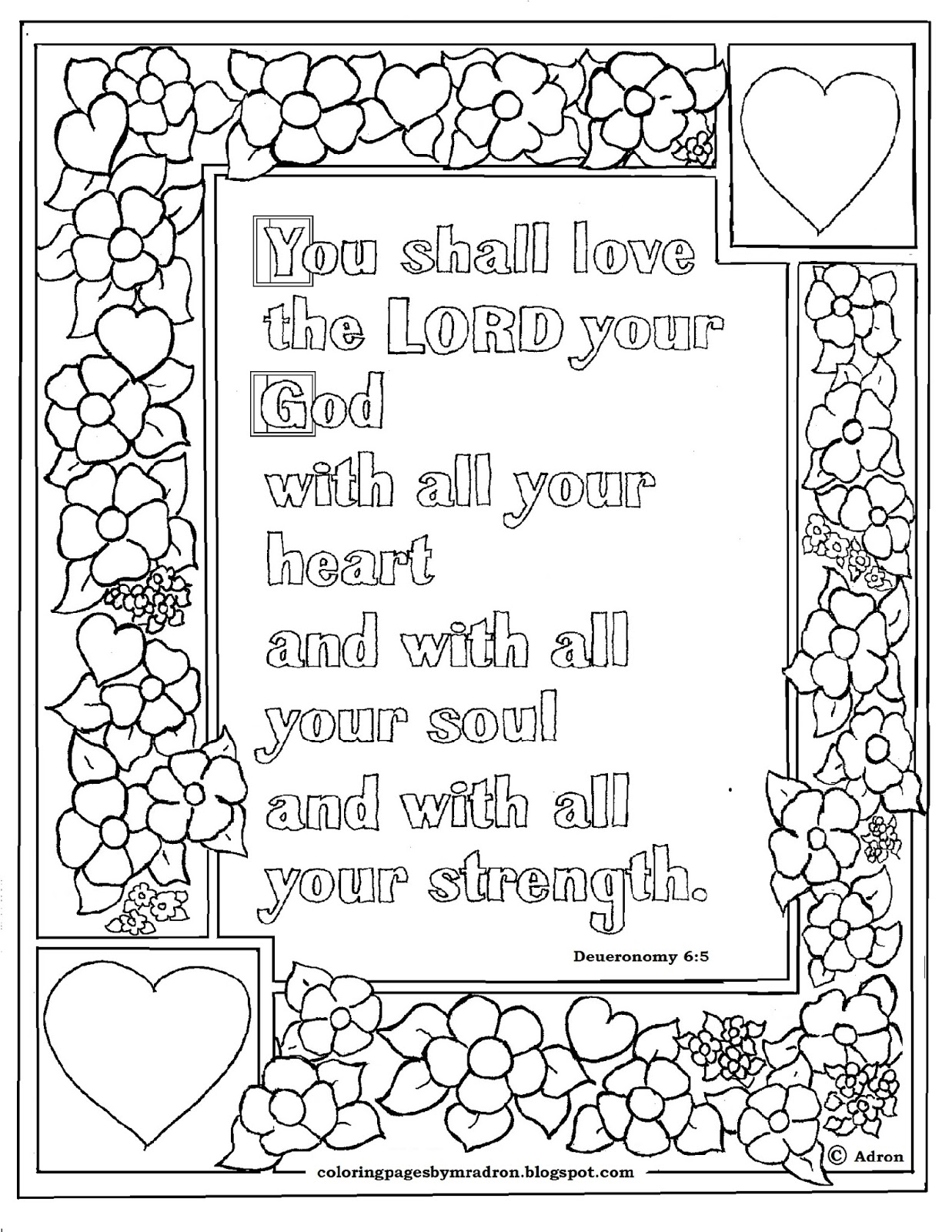 Coloring Pages For Kids By Mr Adron Deuteronomy 6 5