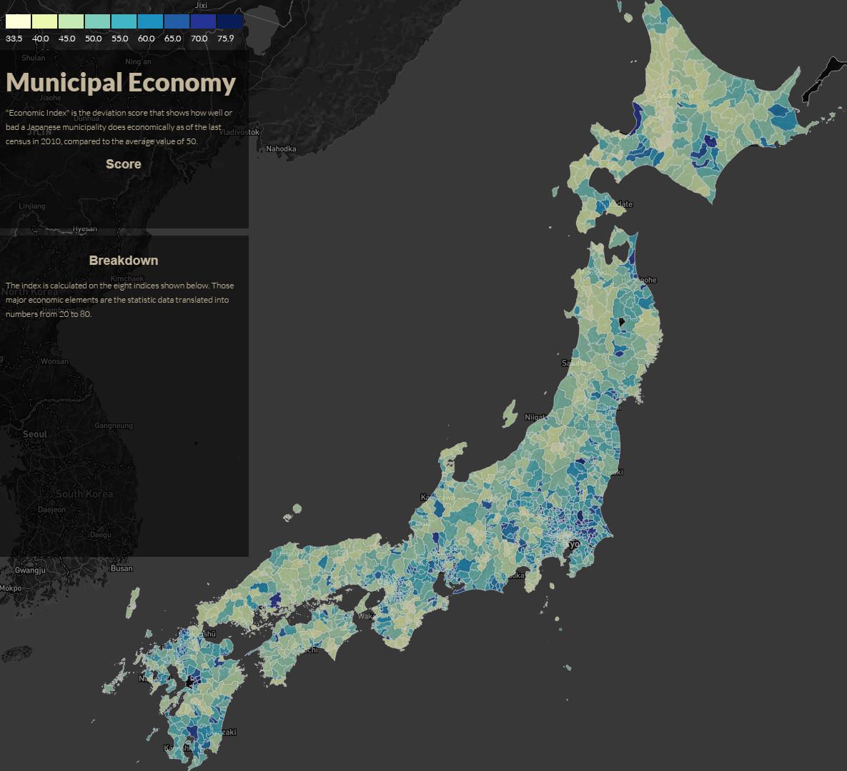 Japanese Municipal Economy Map