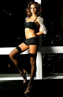 Josie Maran Legs Show In Black Stocking