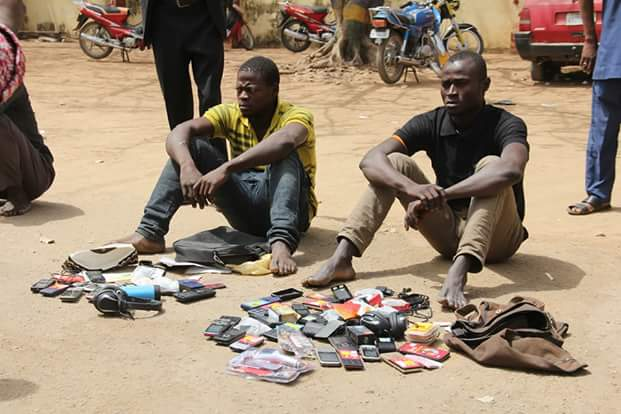 Photos: Police parade suspected female armed robber and her gang members who attacked filling station in Bauchi and killed the manager