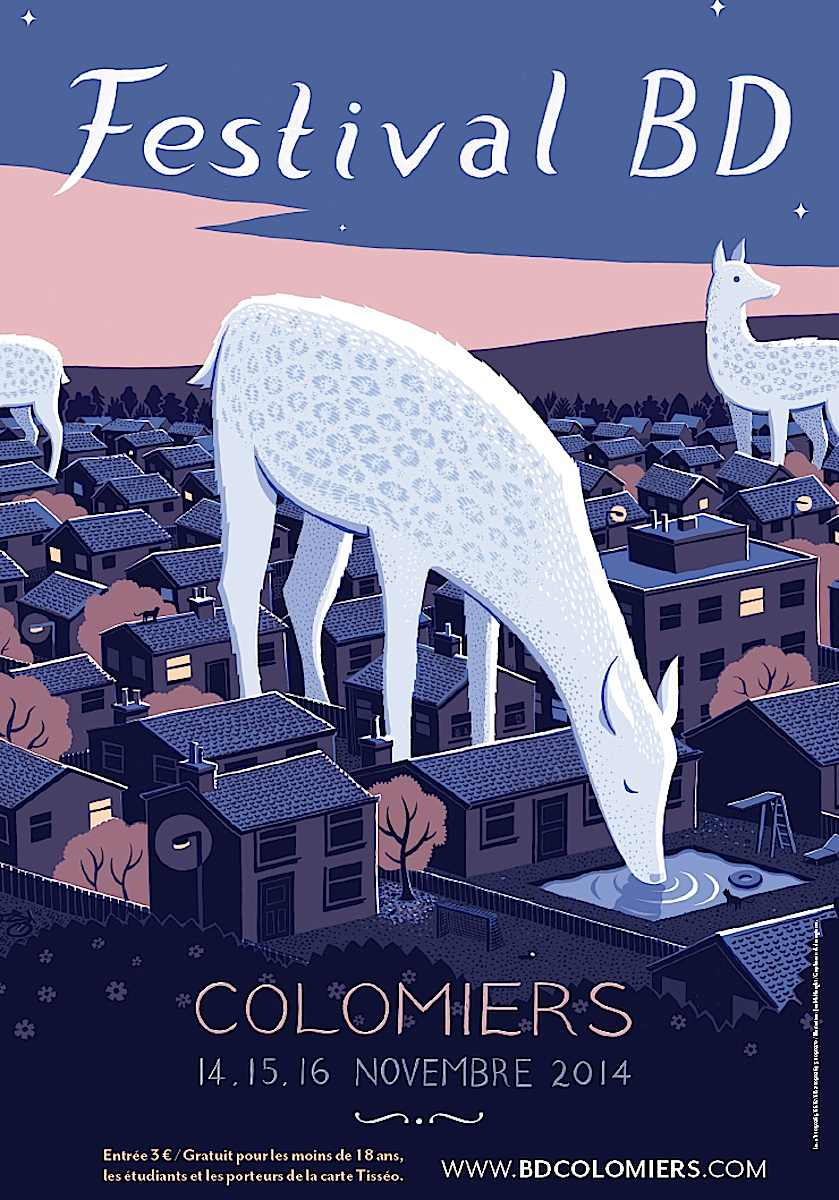 a 2014 Jon McNaught poster, Festival BD, giant deer in the city at night
