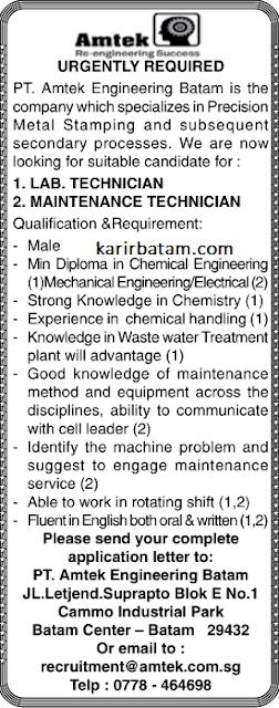 Lowongan Kerja PT. Amtek Engineering Batam