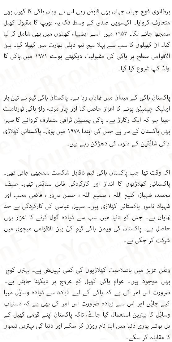 hockey match essay in urdu