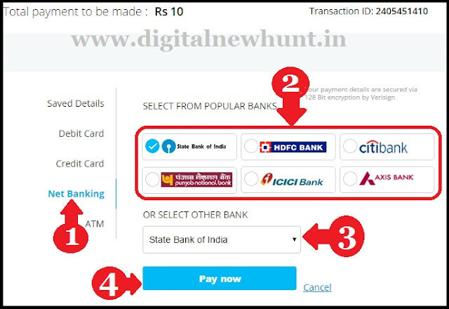 use net banking for online recharge
