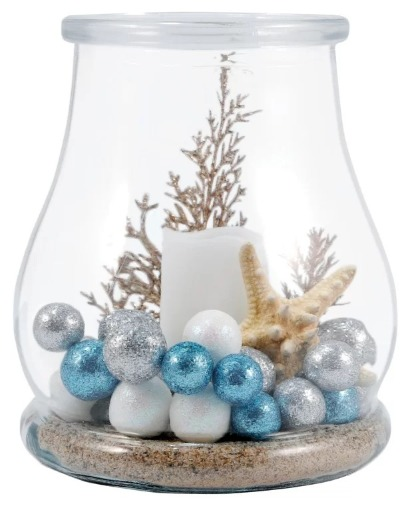 Coastal Christmas Glass Hurricane