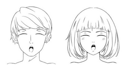 Personnages heureux avec la bouche en rond