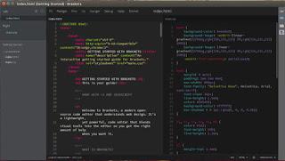 واجهة برنامج Brackets لتحرير الأكواد البرمجية من شركة أدوبى