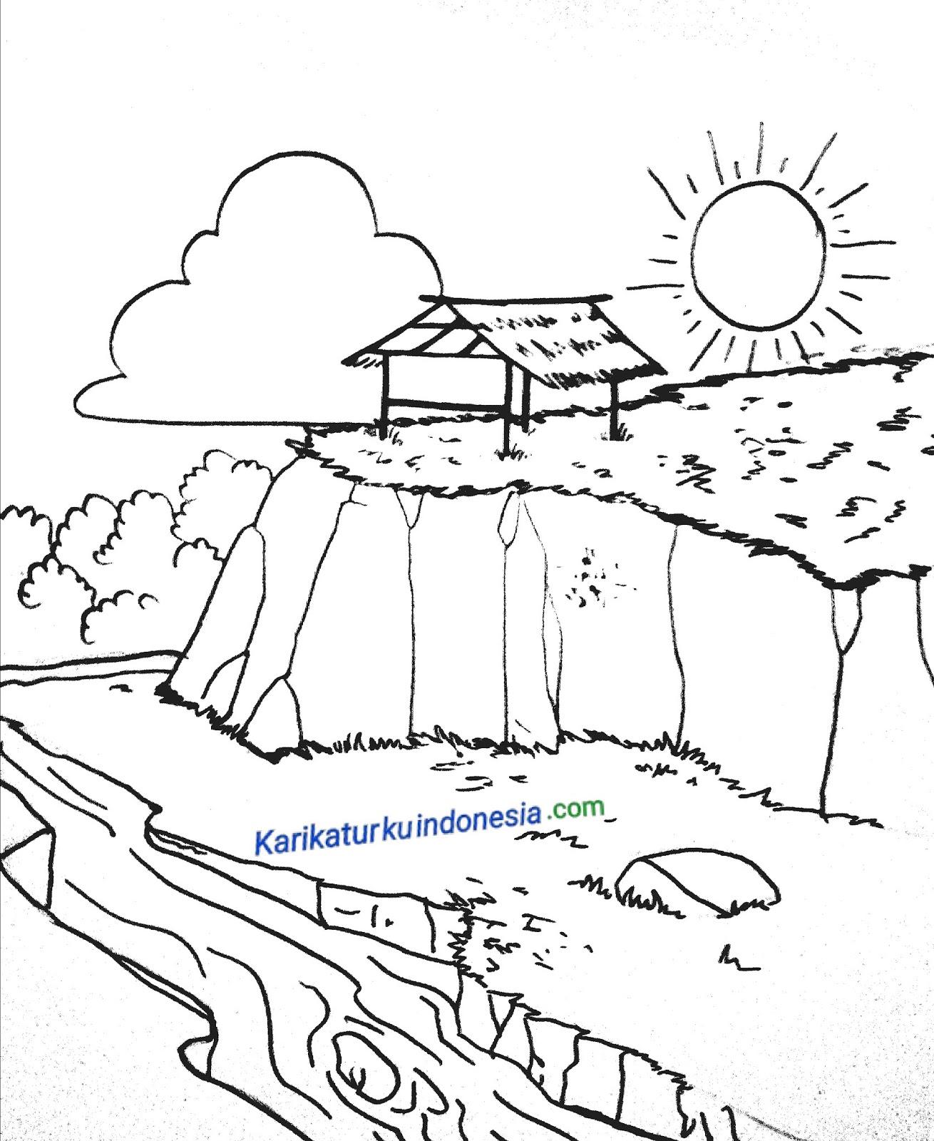 Karikaturku Indonesia Menggambar Pemandangan Pegunungan