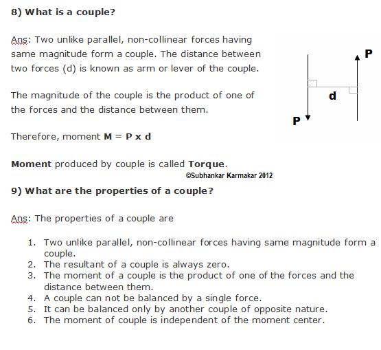 SUBHANKAR 4 STUDENTS: QUESTIONS BANK 3 : FORCE AND FORCE SYSTEM