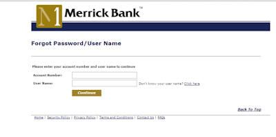 Merrick Bank credit card password Reset Page