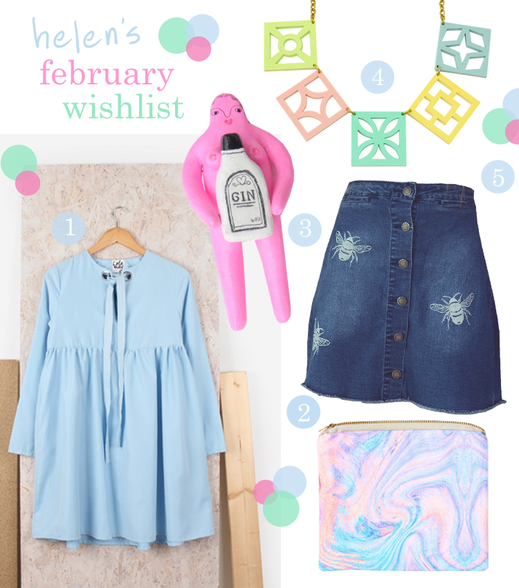 wishlist, February wish list, blogger wishlist, pastel wishlist, spring wishlist, Lola May blue smock dress, Sweet As Can Be, mermaid bag, marble design clutch, fridge magnets, Liv&Dom, liv & dom, You Make Me Design, vintage style necklace, pastel necklace, Emma Warren Design