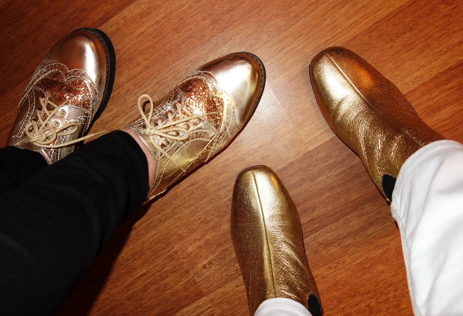 Two pairs of metallic shoes for a 70s rock gig