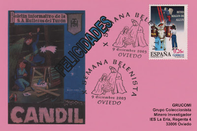 Tarjeta del matasellos de la X Semana Belenista en Oviedo.