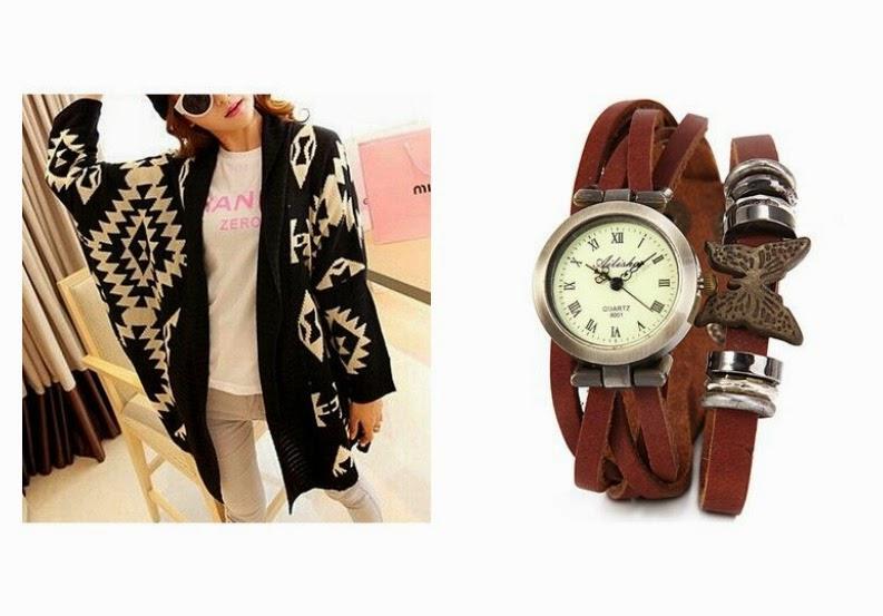 reloj vintage y cardigan de moda