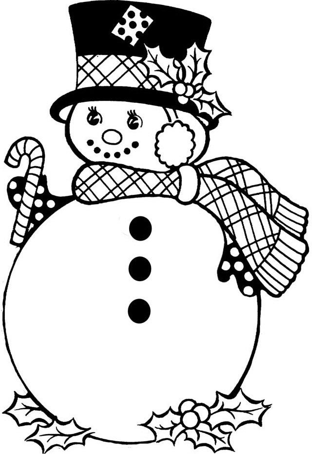 Dibujos para imprimir y colorear: Muñeco de Nieve para