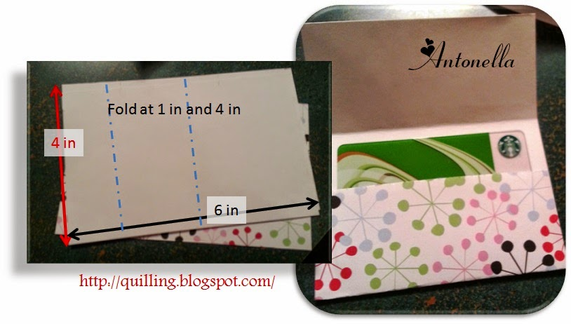 Gift Card Holder Tutorial from Antonella at www.quilling.blogspot.com