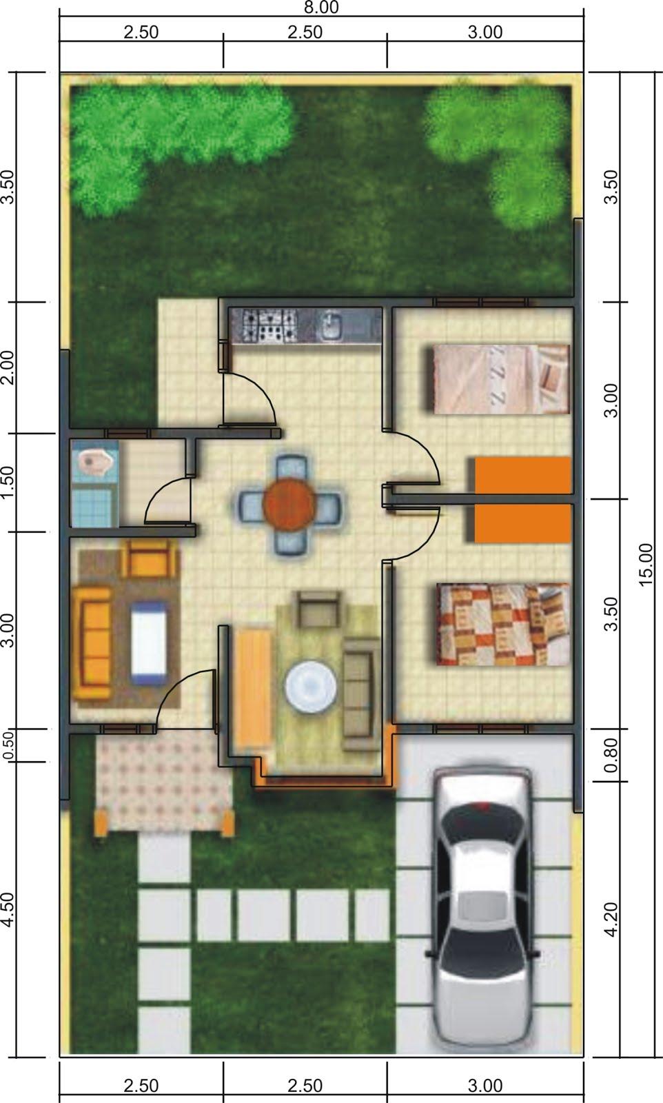 Denah Ukuran 6 X 15 REFERENSI RUMAH Situs Rujukan Desain Rumah