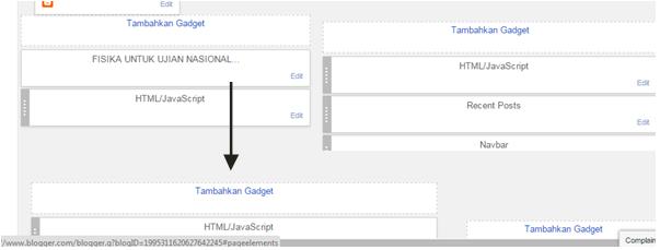Membuat Tambahkan Gadget di Header dan posting blog
