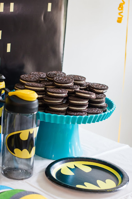 Oreo Tower with double stuffed oreos at a batman party