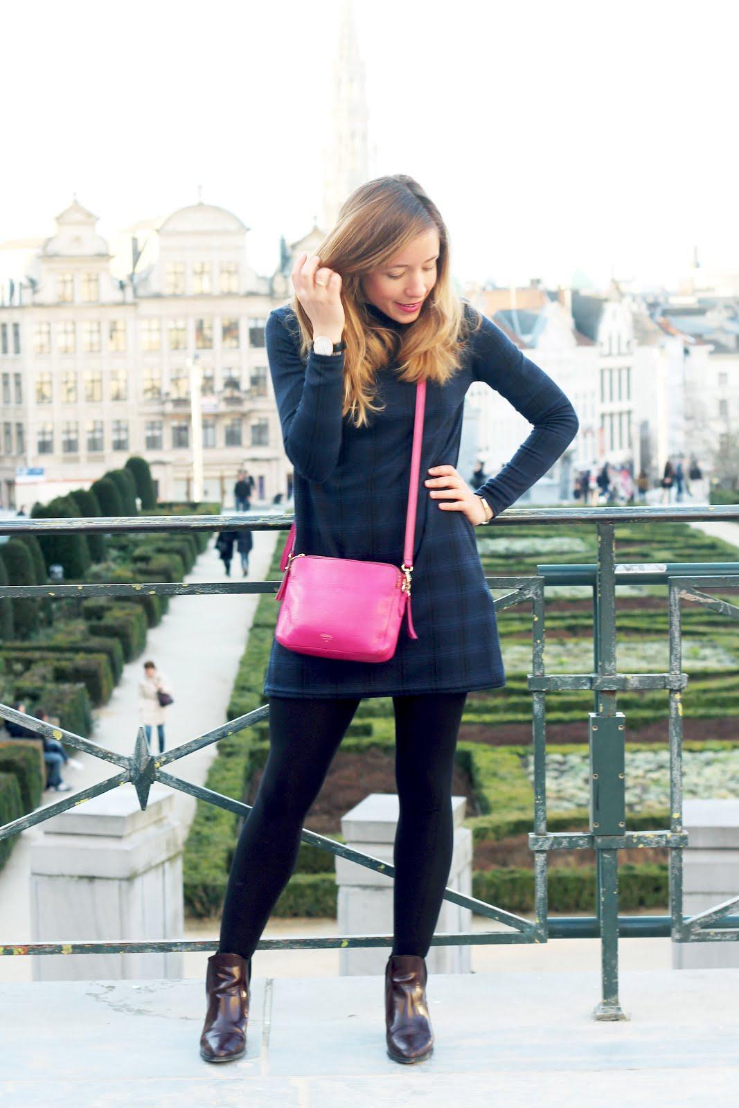 blog mode robe carreaux bleus