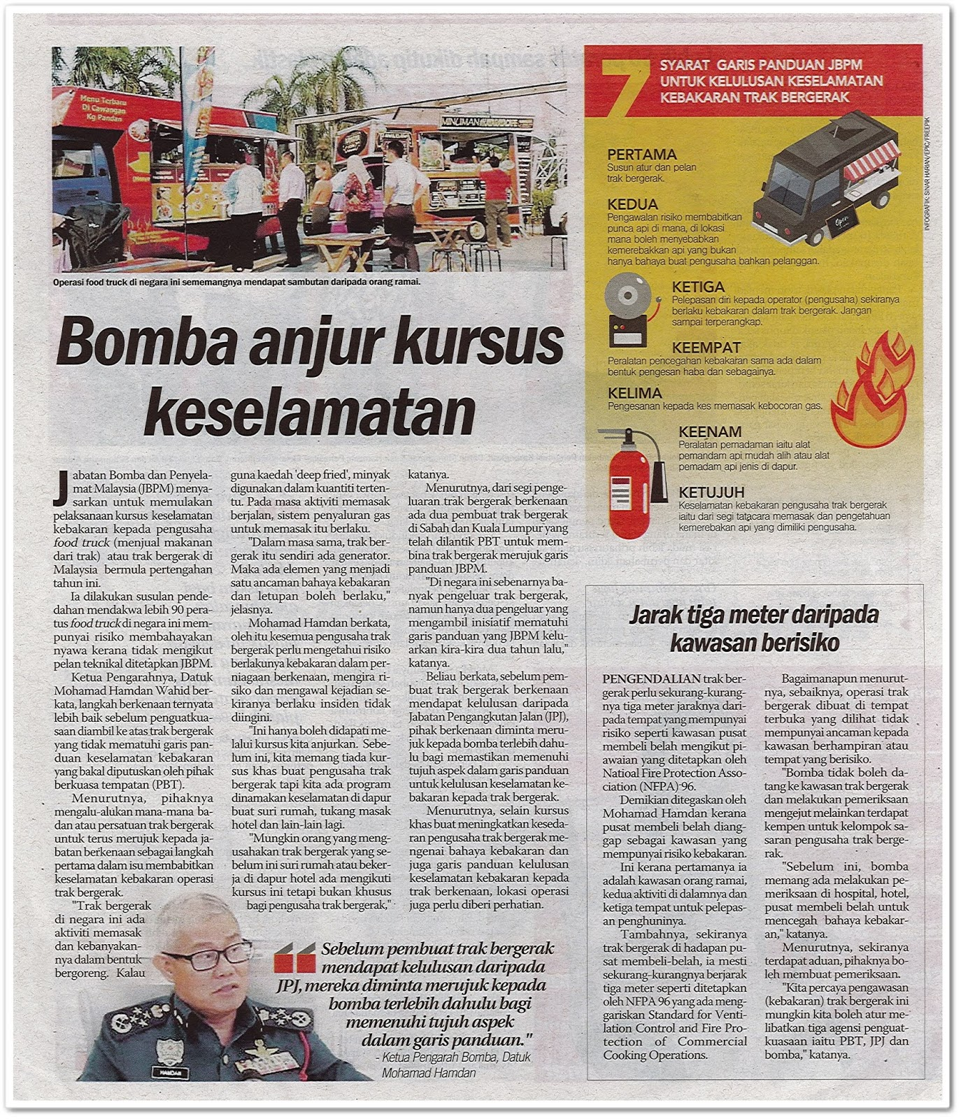 Bomba anjur kursus keselamatan - Keratan akhbar Sinar Harian 5 Mac 2019