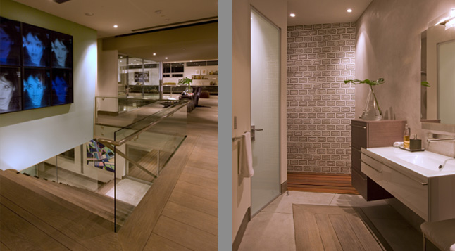 Photo of hallway on the second floor and modern bathroom as seen from the doors