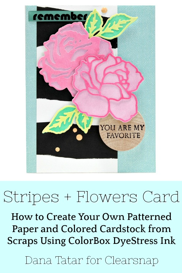 Pink Flowers and Black and White Striped Greeting Card with Stamped Wood Tag Sentiment