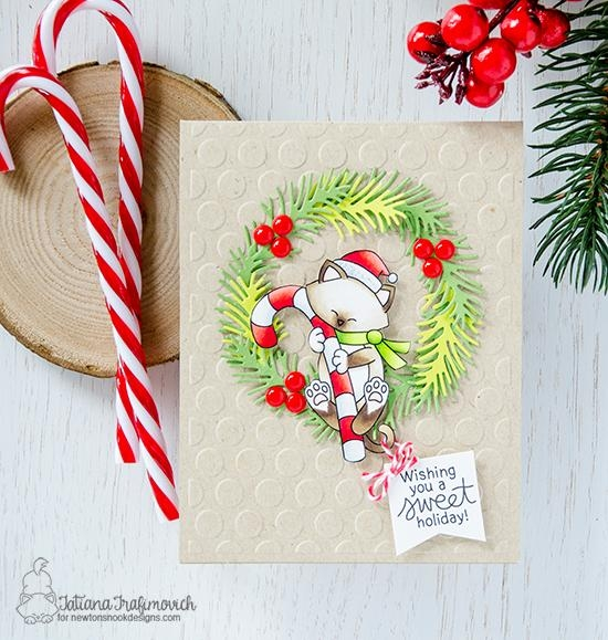 Holiday Kitty Wreath card by Tatiana Trafimovich | Newton's Candy Cane Stamp Sets by Newton's Nook Designs #newtonsnook #handmade
